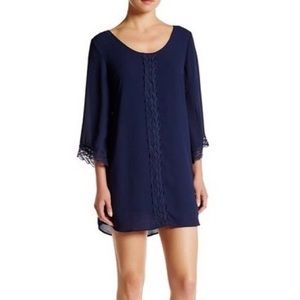 Anthropologie ASTR The Label navy shift lace dress